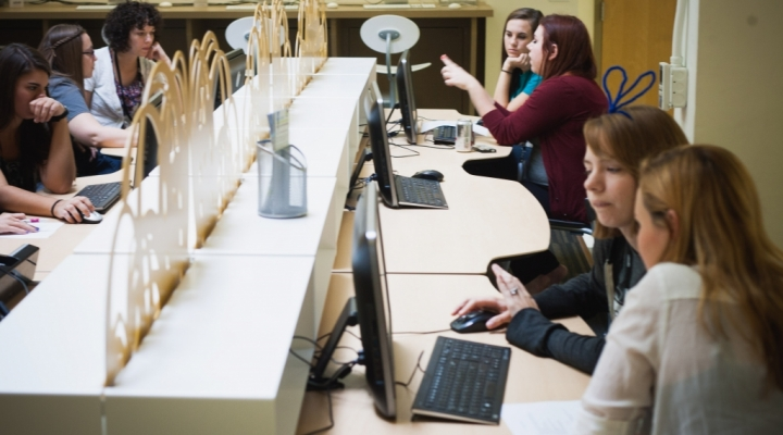 Students and Consultants Working at Computers in Noel Studio
