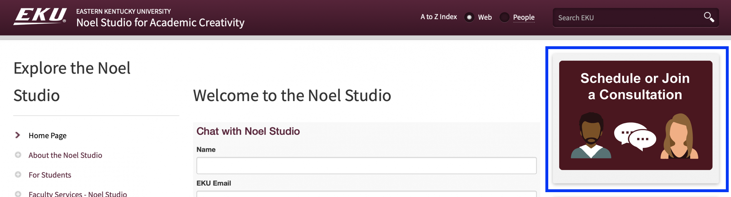 Image of Schedule a Consultation or Room icon on Noel Studio homepage