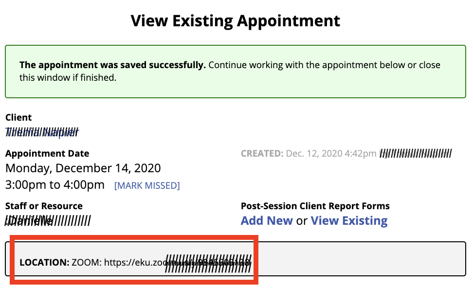 Appointment Successful - Zoom Link Location