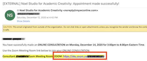 Email Confirmation with Zoom Link